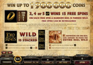 Lord of the Rings Pokie Paytable